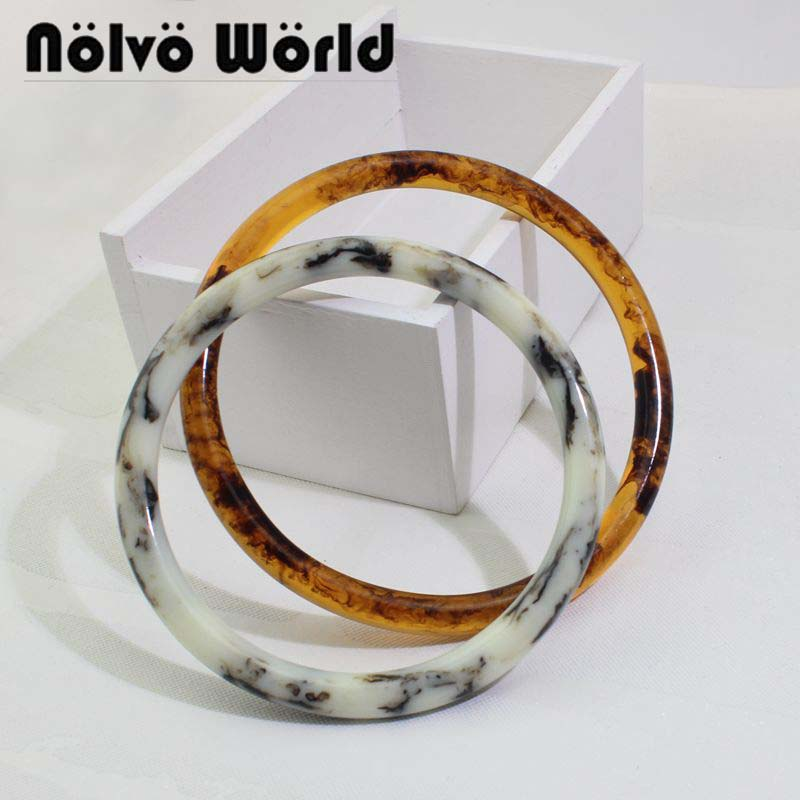 2 Pairs=4 Pieces 12cm 13cm NEW Fashion Resin Round Plastic Handle,Customize Flavescens Acrylic Purse Quilting Bags Handle