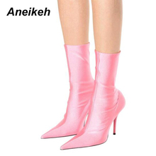 Aneikeh 2017 Short Section Fashionable Women Shoes Senior Silk Stretch Ankle Boots Satin Elastic knee High Heels Size 35 – 39