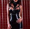 Negro vestidos exóticos vestidos de goma fetiche de látex desgaste del partido ropa ajustada traje más el tamaño de la venta caliente Personalizar el Servicio