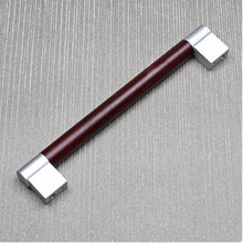 192mm modern fashion furniture large handle red wood grain cabinet wardrobe door handle matte silver dresser door pull knob 7.6″