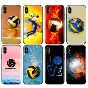 Black tpu case for iphone 5 5s se 6 6s 7 8 plus x 10 silicone cover for iphone XR XS 11 pro MAX case Fire Volleyball sport water(China)
