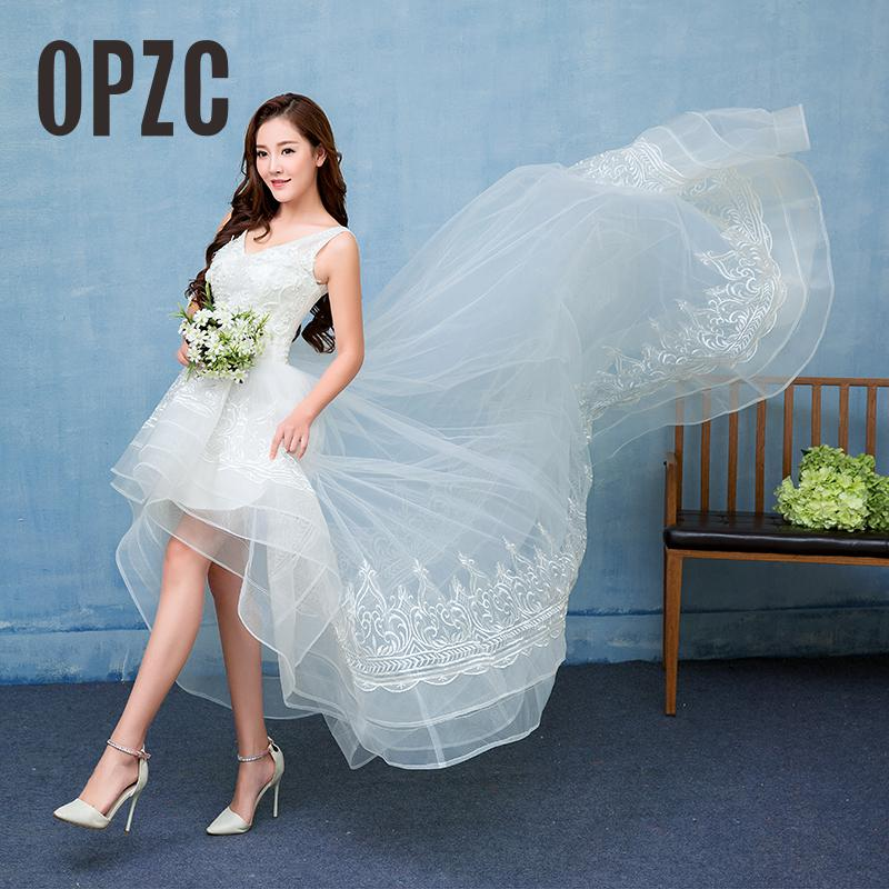 Sexy Front Short Long Back Wedding Dress 2018 New Real Photo Strapless Sweet Tulle Vestidos De