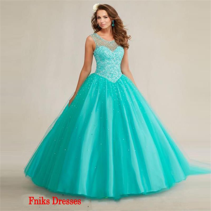 2016 Sweet Year Cheap Aqua Quinceanera Dresses Ball Gown Tank Sheer ...