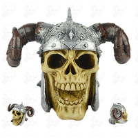 Horn Helmet Skull Figurine Creative Skull Home Decoration Crafts Halloween Funny Tricky Props Birthday Gifts L3062