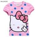 Saileroad crianças verão 2017 nova hello kitty bebê meninas t camisas dos miúdos tops tees meninas dot algodão princesa dos desenhos animados t-shirt