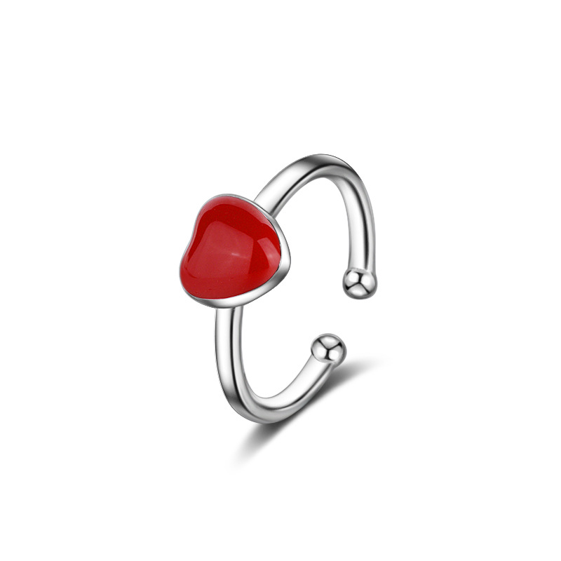 Fashion Children Jewelry Real 925 Sterling Silver Ring Red Color Heart Plastic Tiny Korea OL Style Friendship Gift Finger Ring title=