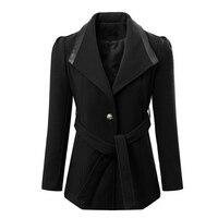 Sonbahar Kış Kadın Uzun Yün Mont Mizaç İnce Patchwork Hit Renk Yaka Kalın Ceketler Ile Sashes 6