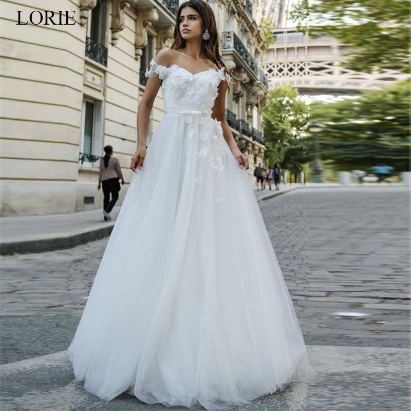 LORIE Beautiful Princess Dress 2019 Appliques  A-Line Wedding Dress White Ivory vestido de noiva Off the Shoulder Bride dress