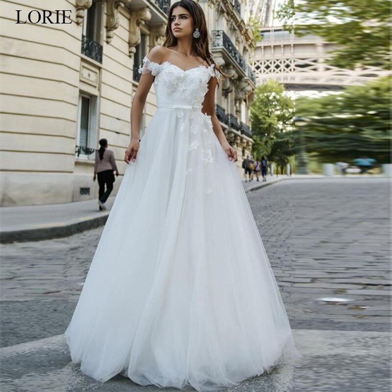 LORIE Beautiful Princess Dress 2019 Appliques  A-Line Wedding Dress White Ivory Vestido De Noiva Off The Shoulder Bride Dress