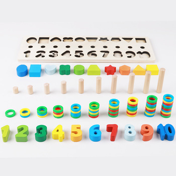 BOHS Montessori Rainbow Rings Preschool Geometry Shape Counting Stacking Board Teaching Aids  Wooden Math Toy,2-6 Years Old