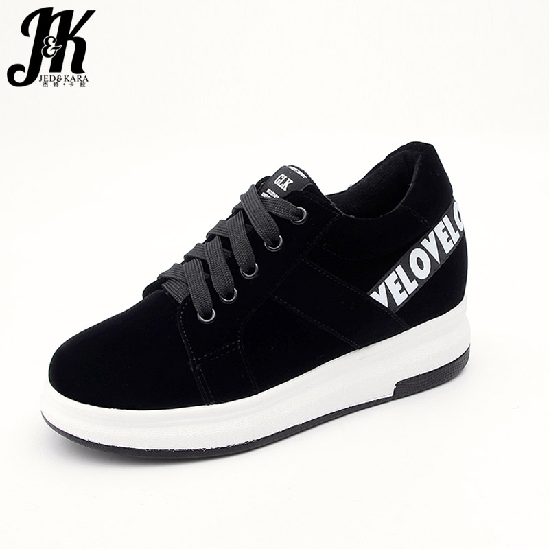 JK Women Flats Spring Fashion Flat Outsole Sneakers Elevator Ladies Shoes Lace Up Flock Platform Patch Round Toe Wedges Footwear