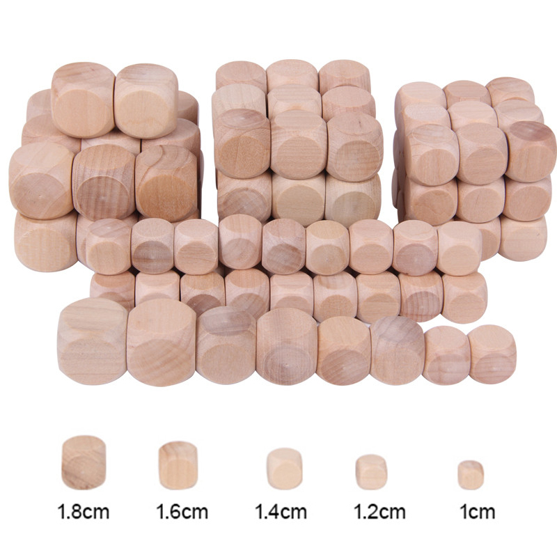 10pcs D6 6 Sided Blank Wood Dice For Party Family DIY Games Printing Engraving Kid Toys