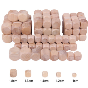 10pcs D6 6 Sided Blank Wood Dice For Party Family DIY Games Printing Engraving Kid Toys(China)