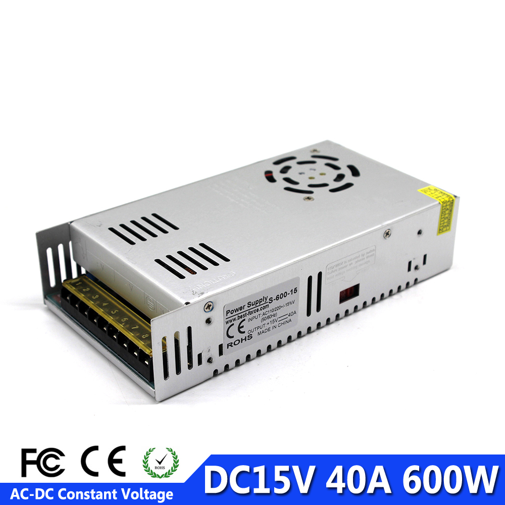 600W 40A 15V DC Constant Voltage Adjustable Power Supply Switching Transformers 110V 220V AC To DC15V
