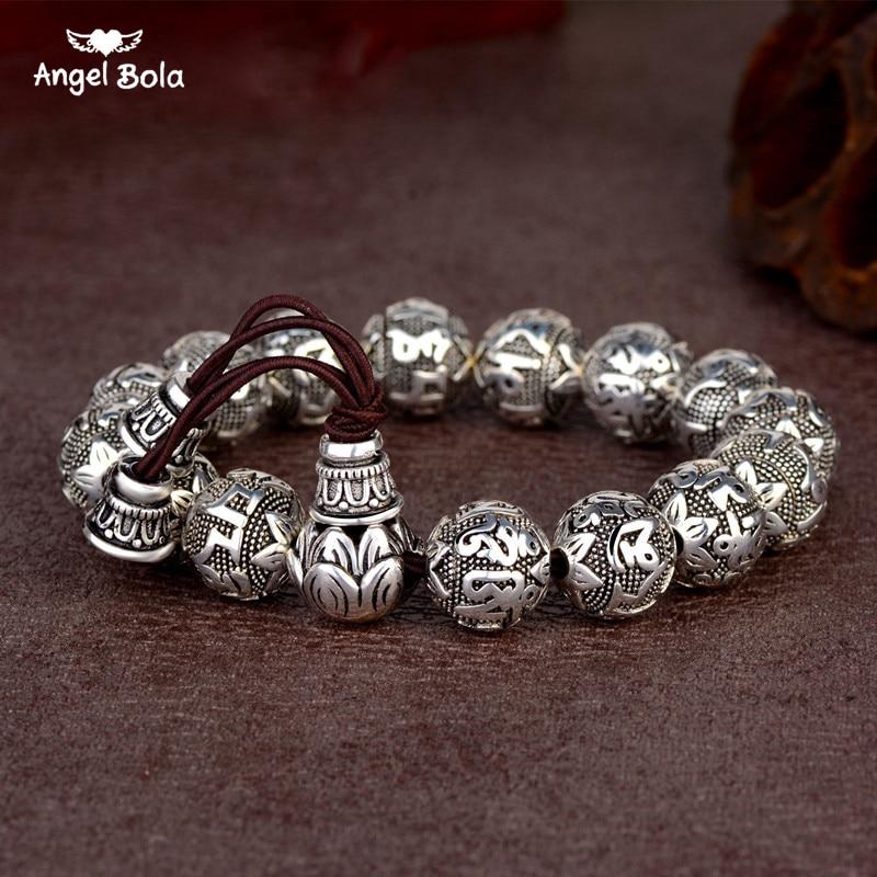 Charm Fine Retro Tibetan Buddhism Plated Thai Silver Rope Bracelet Men Six Words Mantras OM MANI PADME HUM Lotus Beads Bracelet
