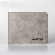 2017 New Fashion Matting Leather Short Wallet Men Vintage Cross and Vertical Standard Wallet High Quality Multi Card Purse