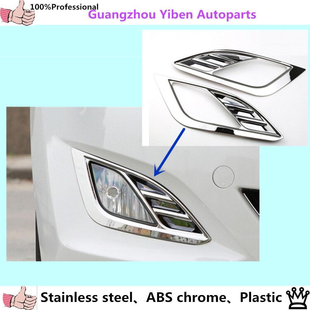 Prix pour De haute qualité ABS Chrome styling garniture tête avant de brouillard de voiture lumière couvercle de la lampe pour Hyunda1 Avante Elantra 2012 2013 2014 2015 2 pcs