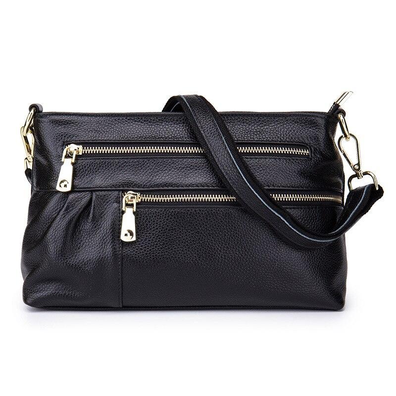 ФОТО 2017 Women Shoulder Bags Genuine Leather Cowhide Luxury Zipper Woman Casual Organizer Clutch Lady Crossbody Messenger Bags