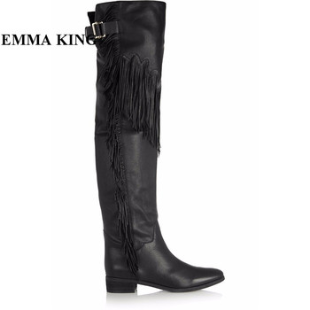 EMMA KING European Style Winter Boots Women Tassel Fringe Studded Buckle Wrap Round Toe Chunky Heels Thigh High Boots Plus Size