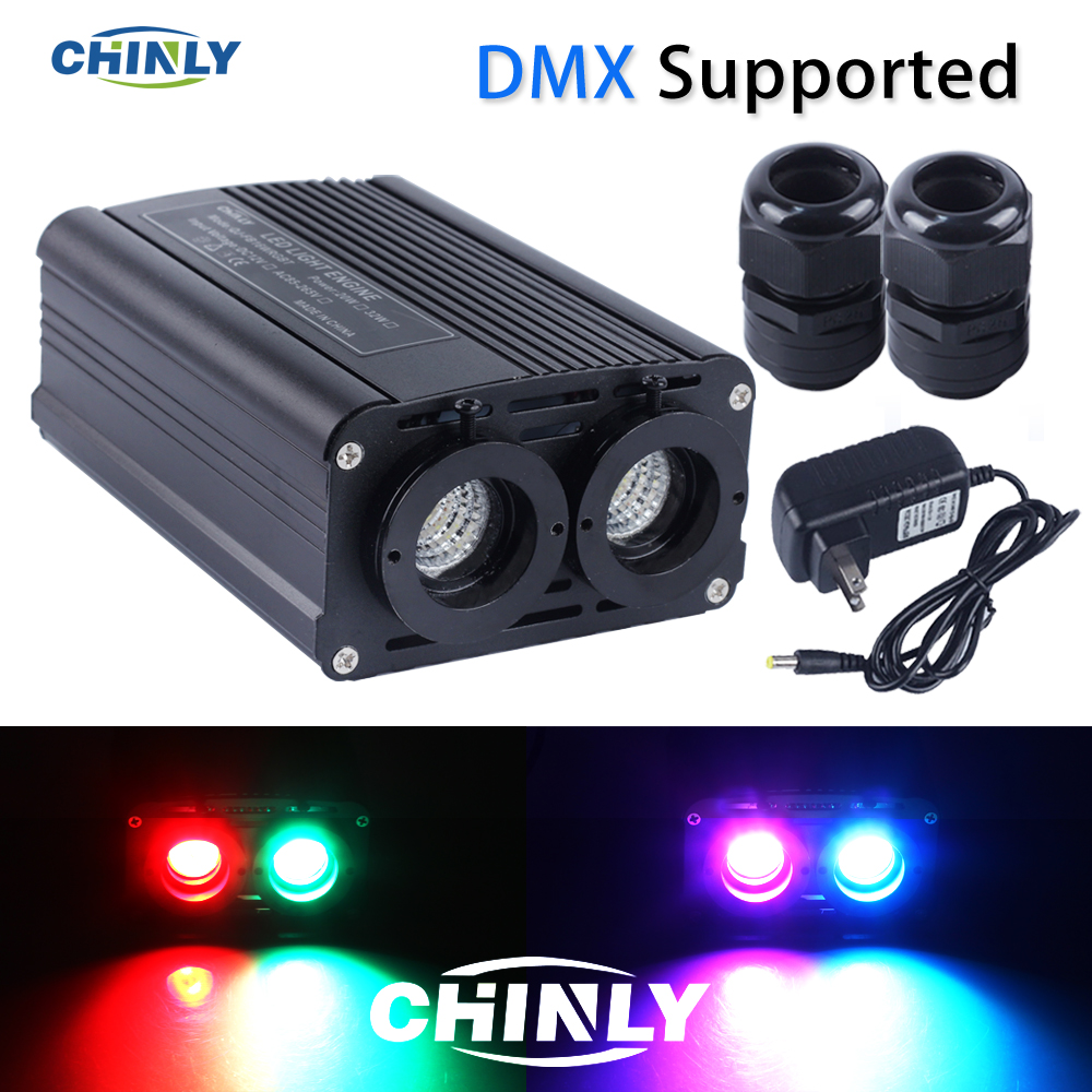 DMX512 LED Fiber Optic Engine 20W RGB Double Source Light Head For Decorative Lightings-in Optic Fiber Lights from Lights & Lighting
