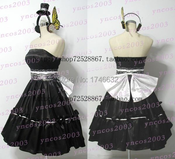 Hot Anime VOCALOID Magnet Kagamine Len Rin Lolita Party Black Full Dress  Cosplay Costume+hat+headset Custom made Any Size-in Sexy Costumes from  Novelty ...