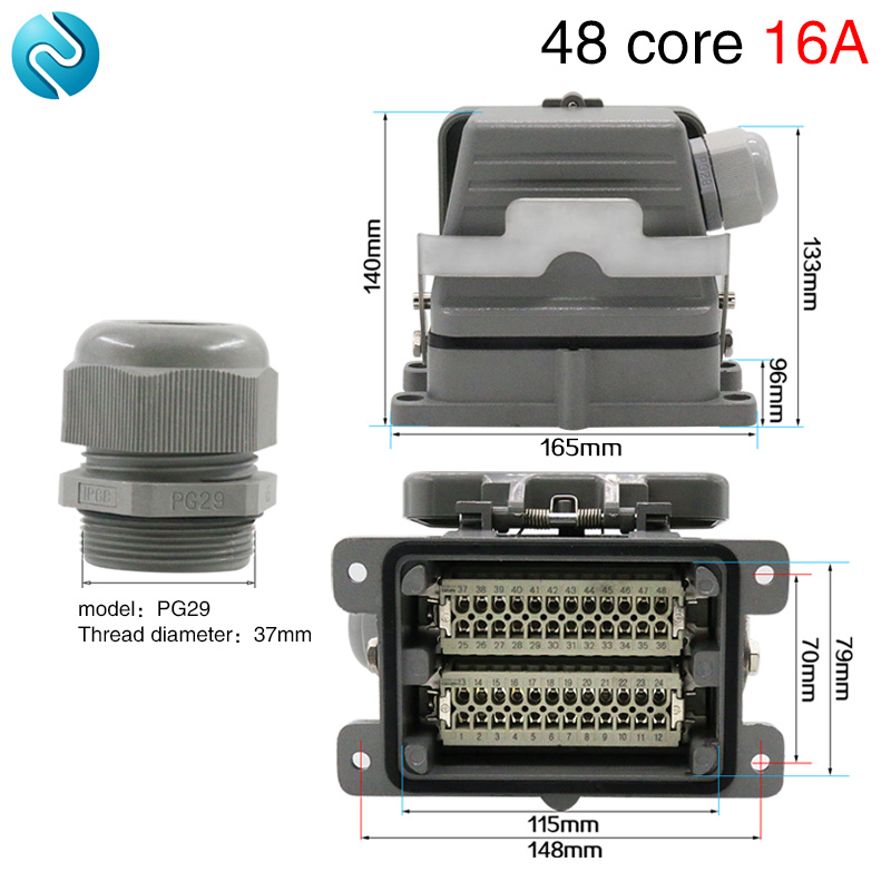 Heavy duty connector 48 core HDC-HE-048 industrial waterproof rectangular aviation socket 16A Base with cover