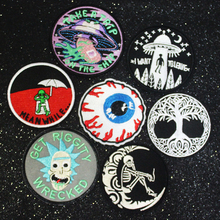 DIY Punk Skull Patch Embroidered Patches For Clothing Stickers on Clothes Iron On Patches UFO Patch Applique for Clothes Stripe hot sale mixed 14pcs full set for bandidos mc embroidered patch iron on jacket leather vest rider punk full back size patch g046