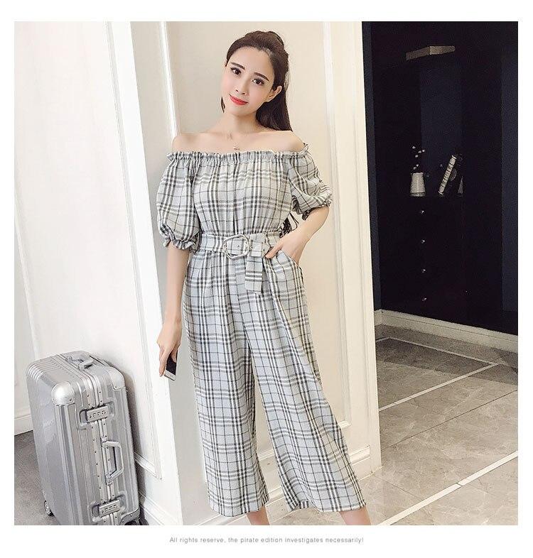 2018 Summer Style Fashion Sweet High Waist Wide Leg With Belt Jumpsuits Elegant Macacao Feminino Temperament Plaid Romper 11
