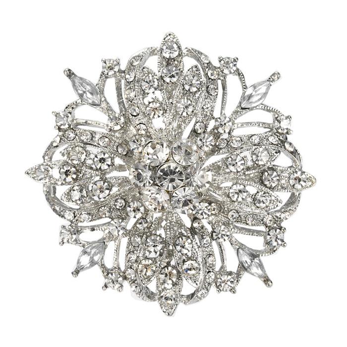 """2,"""" Винтаж Серебряный тон Свадебный Цветочный узор ясно Украшенные стразами Diamante брошь Для женщин ювелирные изделия - Окраска металла: Silver"""