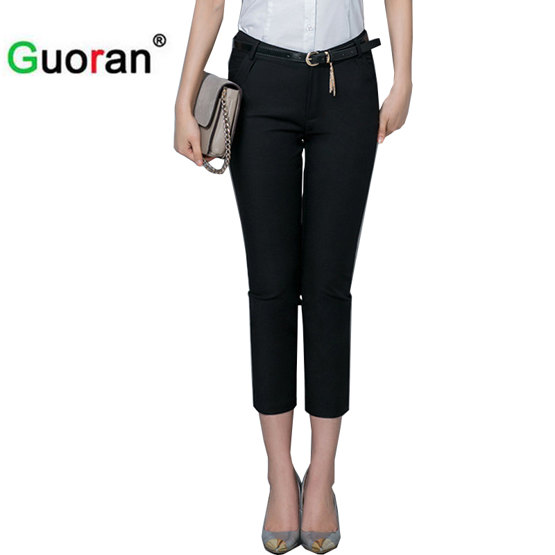 {Guoran} Formal ladies office work wear trousers 2017 summer women OL style black   capris     pants   female pencil   pants   plus size 4XL