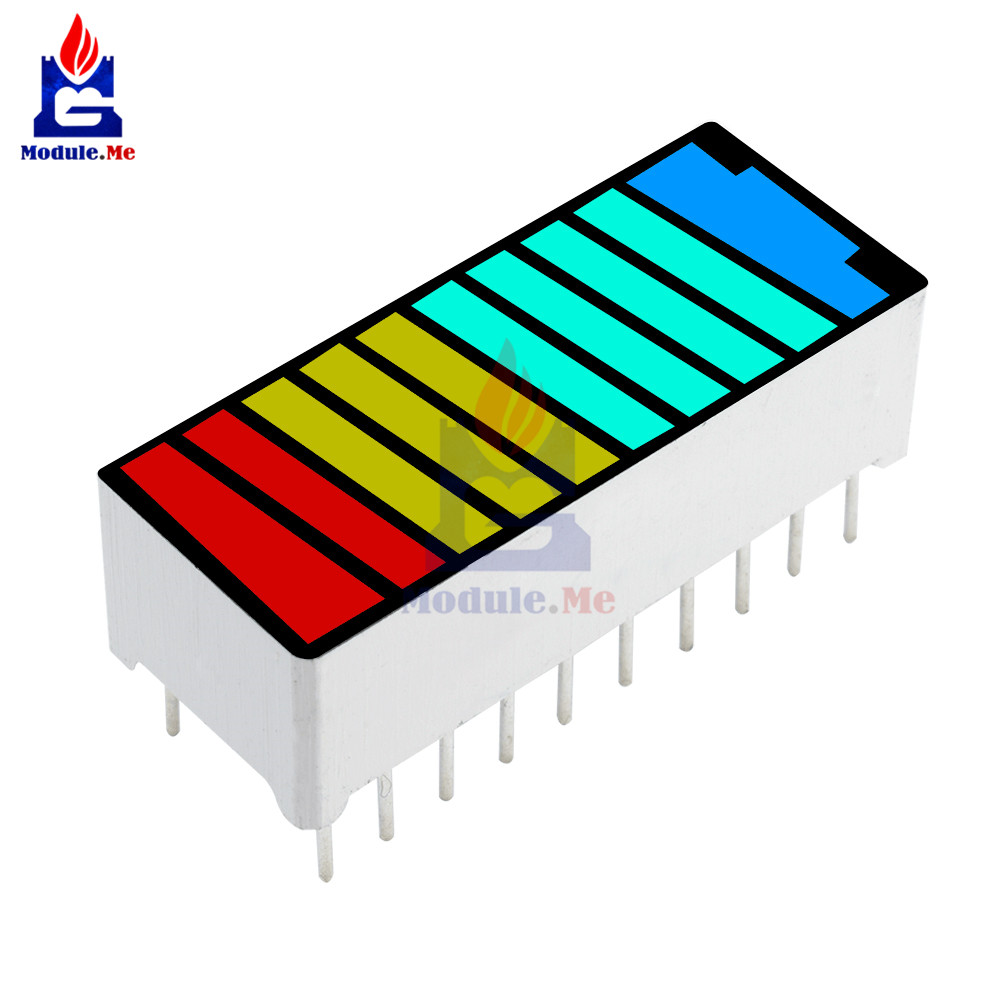 5pcs New 10 Segment Led Bargraph Light Display Red Yellow Green Blue ^P