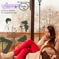 DCTAL Coffee Sticker Boy Girl Love Decal Cafe Poster Vinyl Art Wall Decals Pegatina Quadro Parede Decor Mural Coffee Sticker
