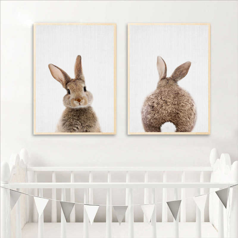 Bunny Rabbit Canvas Painting Woodlands Nursery Decor Animal Picture Rabbit Wall Art Prints Modern Baby Room Decoration