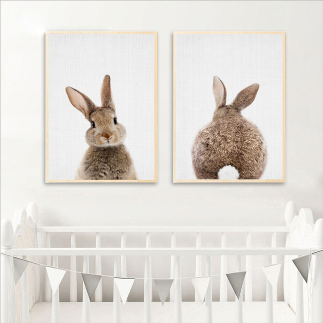 Bunny Rabbit Canvas Painting Woodlands Nursery Decor Animal Picture Wall Art Prints Modern Baby Room