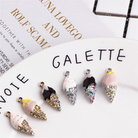 Mini Order 10PCs 18 11MM Gold Silver Tone Plated Alloy Ice Cream Pendant Charms Cute Enamel