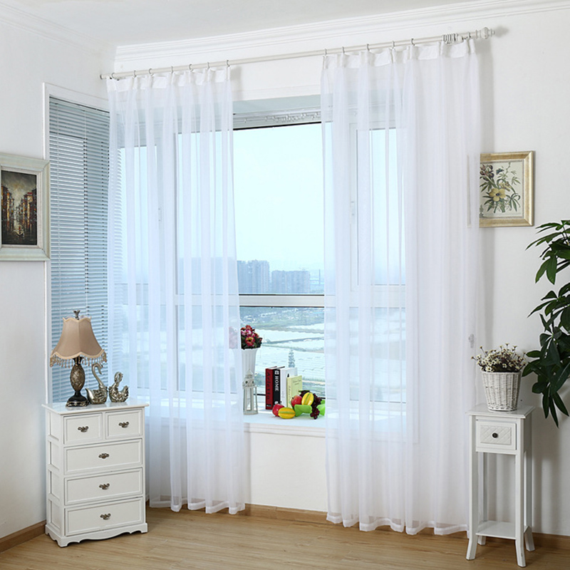 Modern Home White Tulle Curtains Translucent Window Curtain Living Room  Sheer Curtains Cheap Kitchen Curtains Custom
