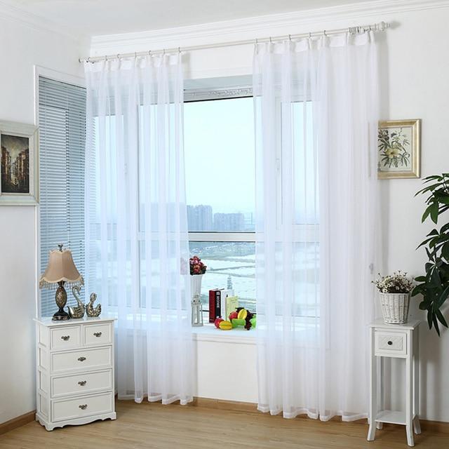 Moderne Home Weiß Tüll Vorhänge Durchlässige Fenster Vorhang