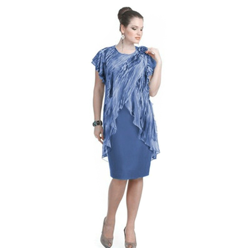02792734ff1 Bigsweety летнее элегантное платье Женская одежда до колена Длина  поддельные из двух частей платье шифон оборками Женские Модные платье плюс  Ра..