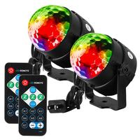 2PCS LED Disco Ball Light With Remote Control Portable Mini RGB Lamp 7 Colors Magic Stage