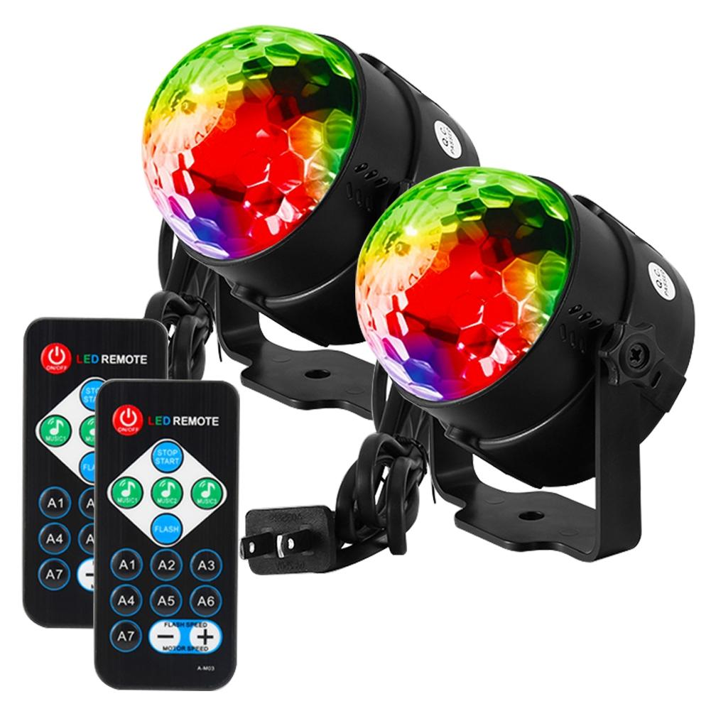 2PCS LED Disco Ball Light with Remote Control Portable Mini RGB Lamp 7 Colors Magic Stage Light for Party KTV Club mini rgb led party disco club dj light crystal magic ball effect stage lighting