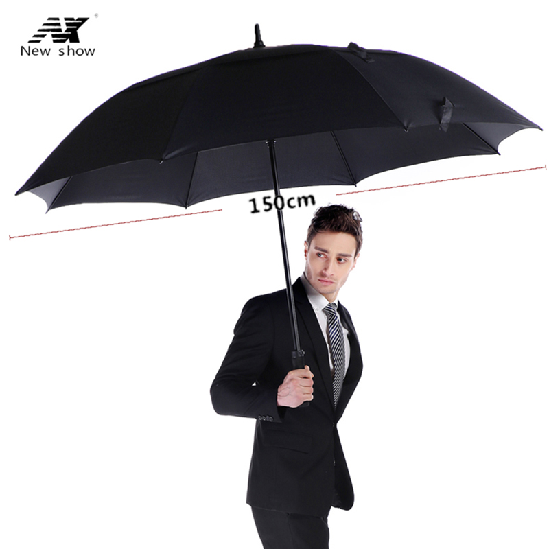 Large Straight Handle Shank Rain Umbrella Double Business Windproof Big Skeleton