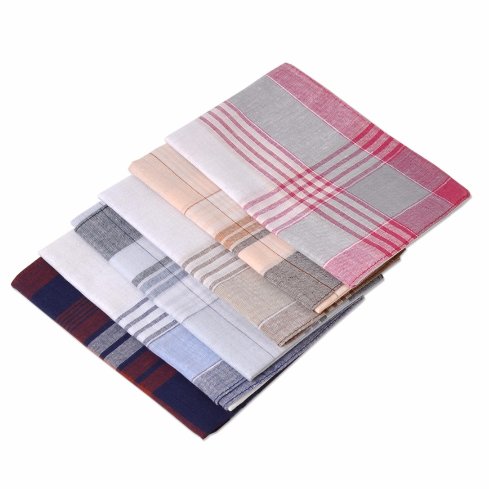 ciciTree 6pcs / set New Multicolor Square Stripe 100% Mouchoirs en coton 38 * 38 cm Hommes Motif Classique Vintage Pocket Hanky ​​Plaid