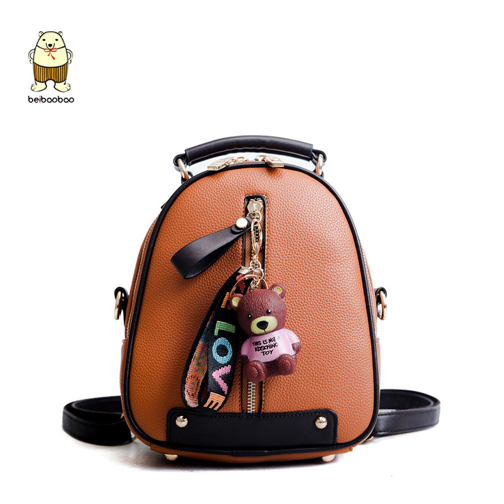 Beibaobao New Brand 2019 Women Backpacks Small Bags For Girls Pu Leather Fashion Women Bags Daypack With Top Zipper