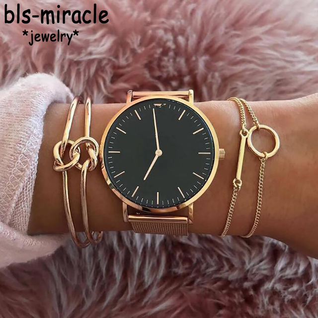 Bls-miracle Vintage Gold Color Twisted Bracelets Bangles For Women Fashion Round
