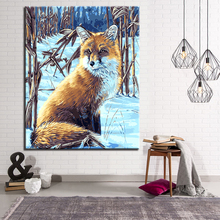 In the Winter Forest Snow Lonely Fox Picture By Numbers DIY Animal Painting Kits Hand paited On Linen Canvas Decorative Wall