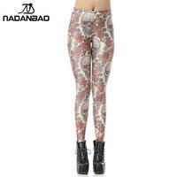 NADANBAO New Custom Casual High Waist Leggins Roses And Skulls Digital Legins Printed Women Leggings Women