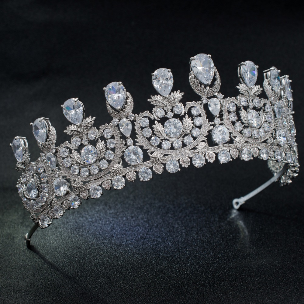 Classic Cubic Zirconia Big Royal Wedding Bridal Tiara Crown Diadem Women Girl Hair Accessories Jewelry HG1162