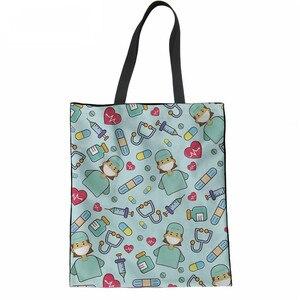 Bolsa de compras con estampado de dibujos animados ThiKin, bolsa de compra duradera, bolsa grande de lino informal, bolsa de tela ecológica