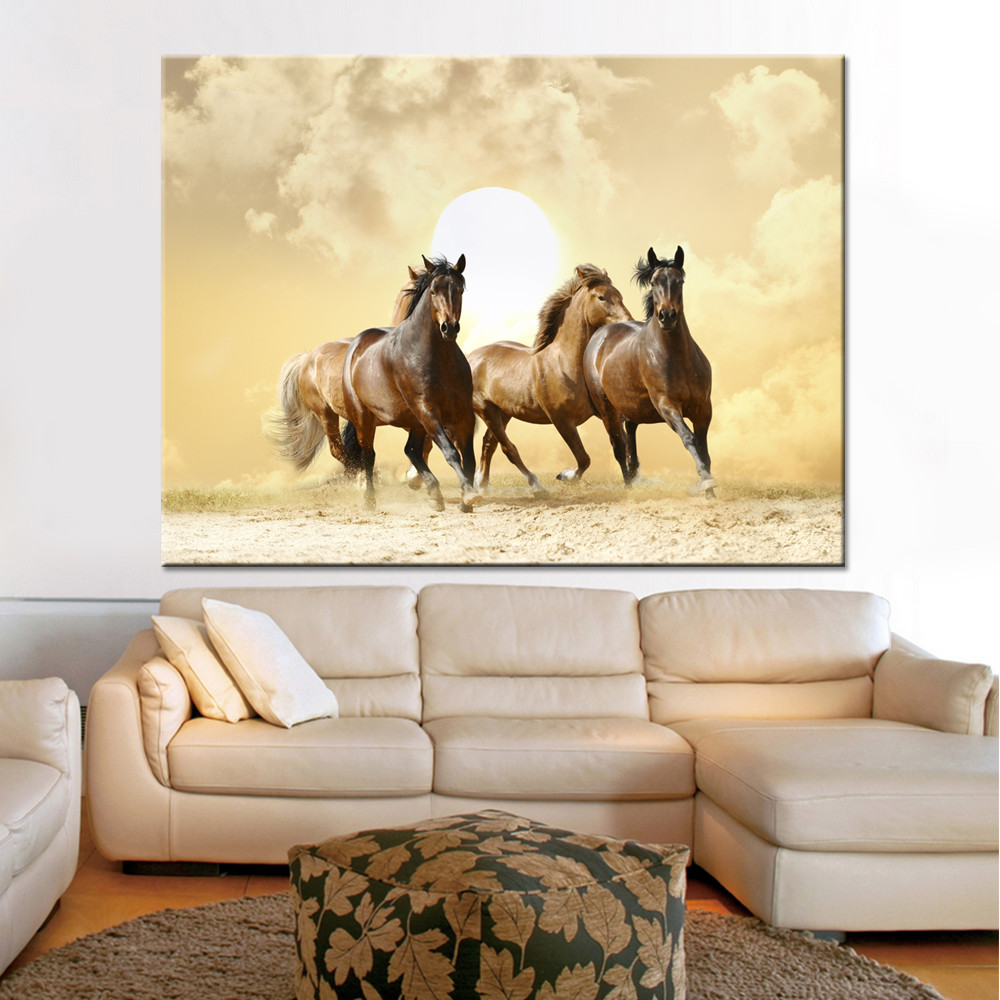 Canvas HD Print Painting Home Decor 1 Piece/Pcs Animal Running Fine Horses Pictures Sunset Poster Living Room Wall Art Framework