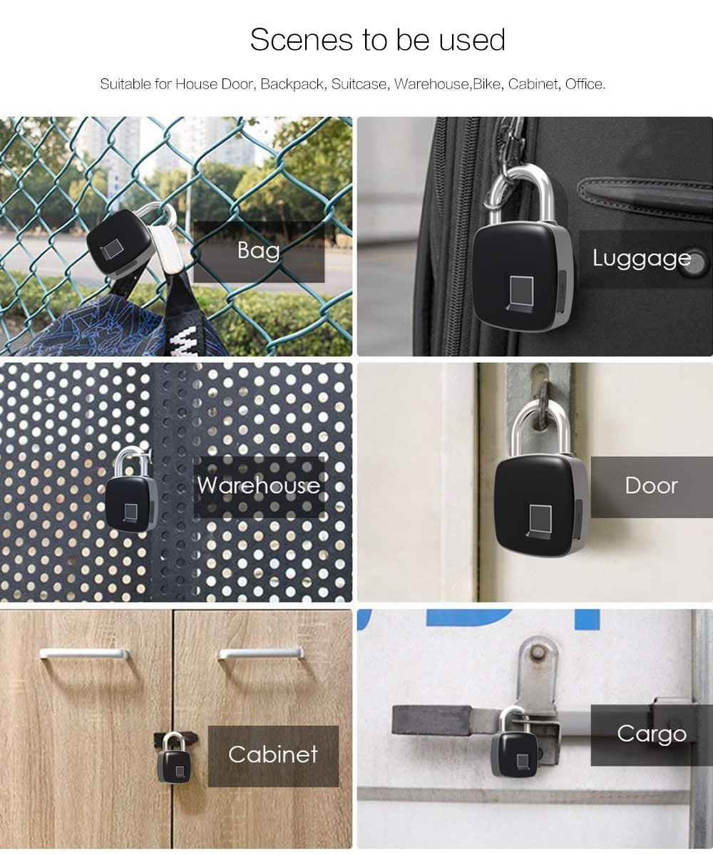 USB Rechargeable Smart Keyless Fingerprint Lock IP65 Waterproof Anti-Theft  Security Padlock Door Luggage Case Lock